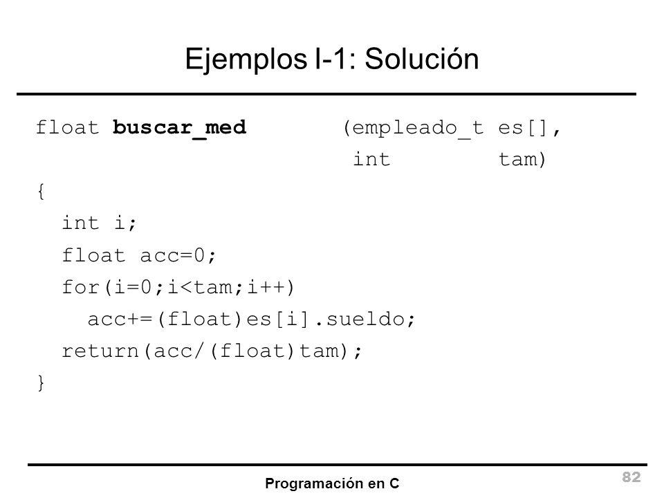 Ejemplos I-1: Solución float buscar_med (empleado_t es[], int tam) {
